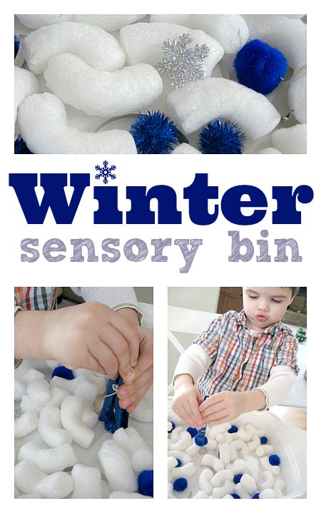 Easy Winter Sensory Bin for snow story times. I could put together small ones for kids to play with at story time. Then they could take them home.