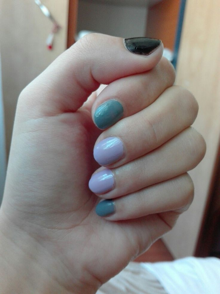 #mani #nailpolish #black #purple #gray