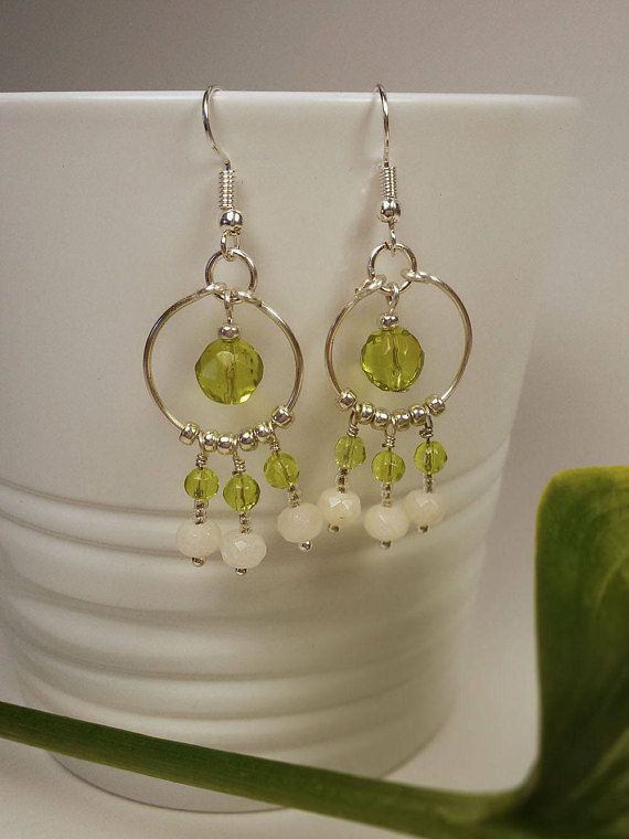 Light Green Glass and White Nephrite Beads Earrings with