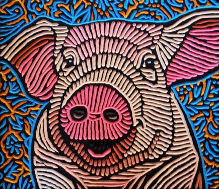 "'Pink Pig' - art by Lisa Brawn, via Flickr;  painted woodcut block on salvaged Douglas fir;  12.75"" x 11""     ...She looks so happy!..."