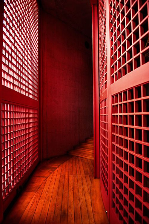 "Red corridor, Honpuku-ji temple, Awaji, Hyogo, Japan. Architect Tadao Ando's WaterTemple (Mizumido) on Awaji island. ""…Contrar..."