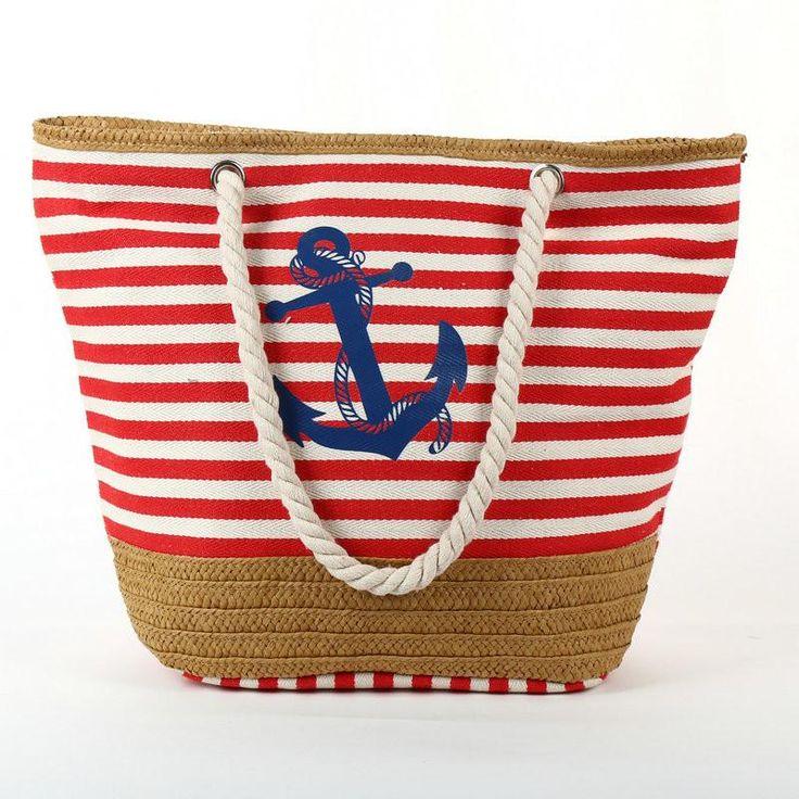 Anchor Print Striped Beach Tote Bag