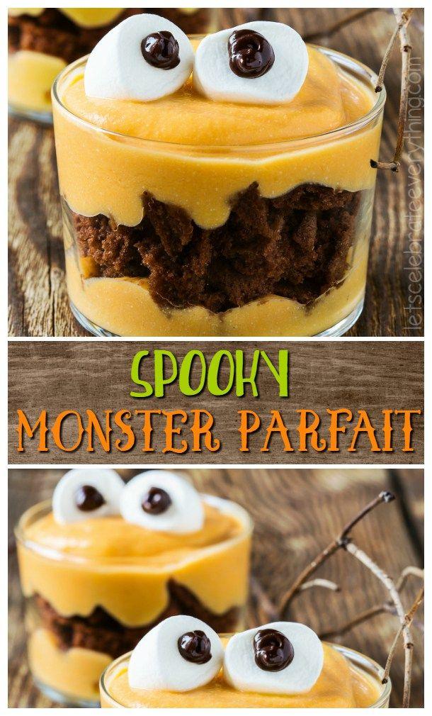 festa di halloween: cibo mostruoso - monster parfait collage