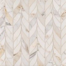 Benton Braid Calacatta Borghini. Stone mosaic #tile that's just waiting to go on your bathroom floor or kitchen backsplash.