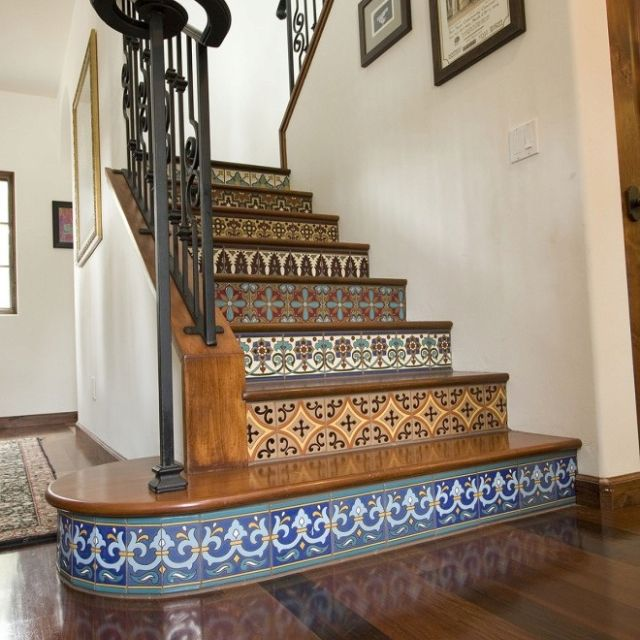 Carved Wood Stair Risers Stair Ideas Stamped Leather: Beautiful Tile Stair Risers