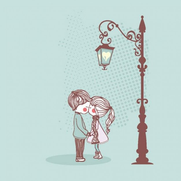 Their rosy cheeks not only add a blushing component, but due to the fact that almost all else is pale blue/cool tones it gives the whole picture a feeling of being cold. The heart used as a light in the lamp is a cute touch. The background pattern and cast shadow are effective in giving them a space to stand in, as apposed to just floating in nowhere.