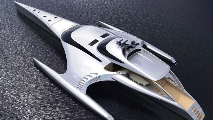 Luxury Yatch. Spaceship style. The three-hulled catamaran Adastra looks more like a spaceship than something that floats on water. Constructed by British boat-builder John Shuttleworth, the 42.5m (140ft) vessel took Shuttleworth Design three years to build and cost its Far East buyer $15m (£10m). (Credit: Shuttleworth Design)