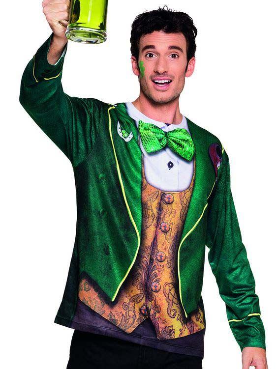 Irland T-Shirt für Herren: Dieses langärmelige T-Shirt ist für Herren geeignet und stellt ein dunkelgrünes Jackett dar, das über einer goldenen Weste und weißem Hemd zum Vorschein kommt. Eine...