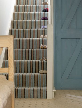 carpeted stairs ideas. I love the look of stairs with interesting printed carpet!