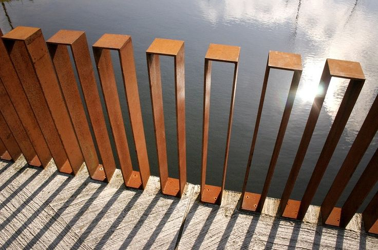 Steel fence, railing or screen.