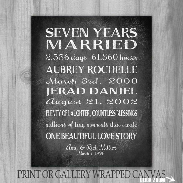 7 Years Anniversary Gift Personalized Canvas