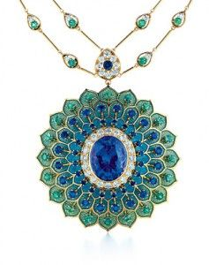 Tiffany peacock tanzanite necklace with diamonds, sapphires, green tourmalines and enamel over feather-textured gold. Part of the 2009 Blue Book collection.   $65,000