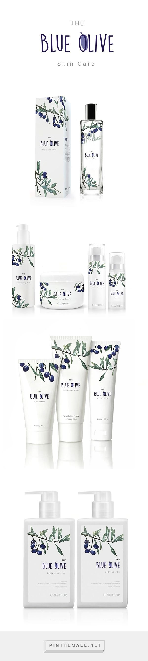 The blue olive's packaging / skin care || Weekly packaging inspiration for everyone! Introducing Moire Studios a thriving website and graphic design studio. Feel Free to Follow us @moirestudiosjkt to see more outstanding pins like this. Or visit our website www.moirestudiosjkt.com to know more about us. #packaging #graphicDesign ||