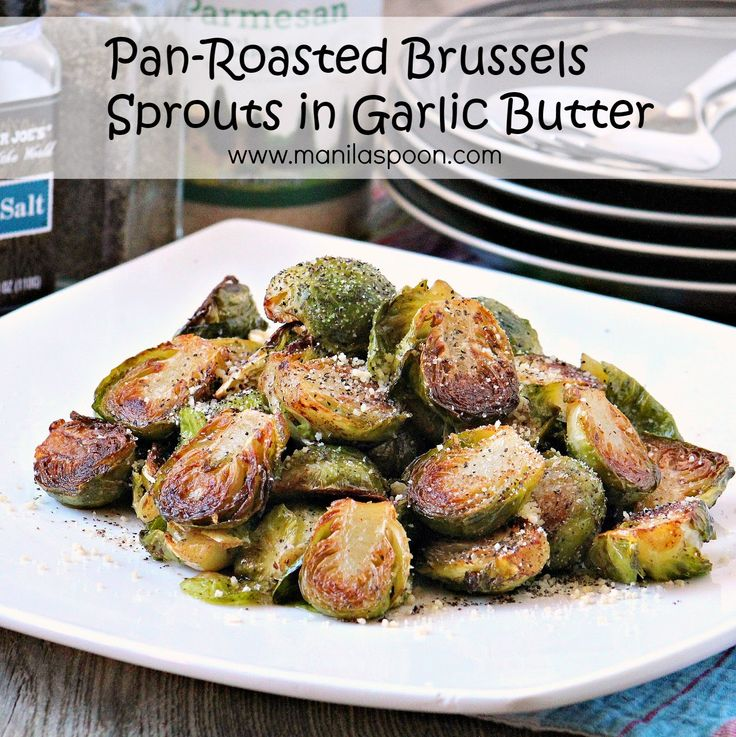 Buttery, Nutty, Garlicky - DELICIOUSLY GOOD - BRUSSELS SPROUTS! I promise this PAN-ROASTED BRUSSELS SPROUTS IN GARLIC BUTTER will make you see this humble vegetable in a totally different light! So perfect with a yummy stew!