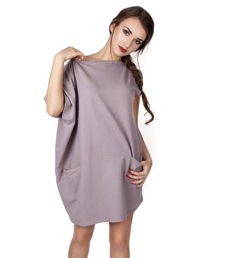 Бежова памучна рокля с нестандартен дизайн на топ цена от Fashion Supreme. 1437187 - лодка деколте, един ръкав, свободна линия, два джоба, , , ориентиро...