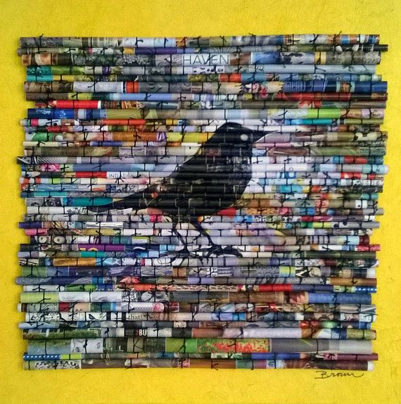 Rolled paper art Recycled magazines modern par LaurieBrownFineArt