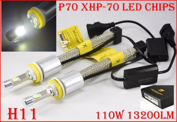[Visit to Buy] Newest 1 Set H11 P70 Cre 6600LM 110W LED Headlight Conversion Kit XHP-70 Driving Fog Lamp Bulb H7 H8 H9 H4 H16(JP) 9006 H13 9007 #Advertisement