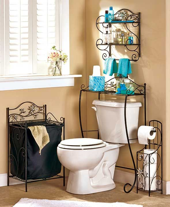 "Add a bit of bling to your bathroom with the Jeweled Accent Bathroom Collection. The Toilet Tissue Holder (7""W x 6""D x 24""H) presents a ready-to-use roll on top and holds 3 additional rolls in the lower bin. Keep your laundry or towels in the fabric-line"