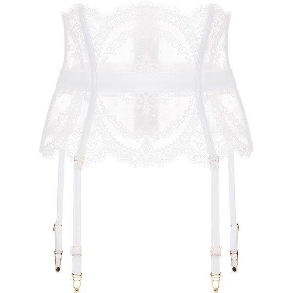 La Perla Neoprene Desire Garter Belt with Straps ($1,228) ❤ liked on Polyvore featuring intimates, white, suspender belt and garter belt