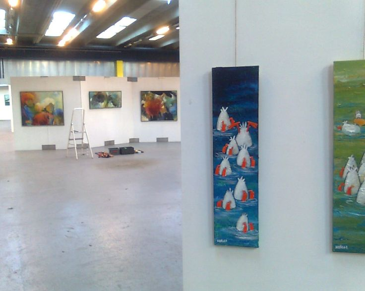 From art fair held in Risskov, Aarhus, 2013. Lucky ducks ... they found a home in Åbyhøj.