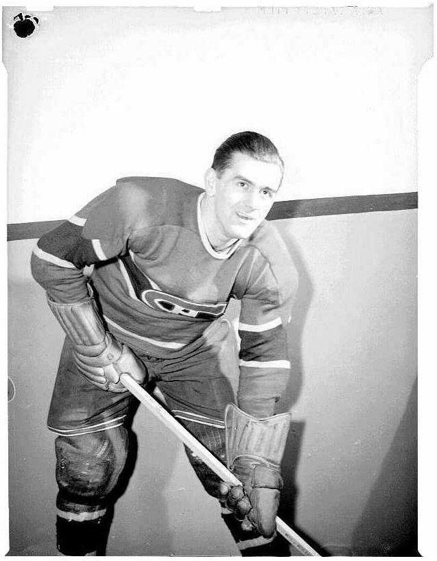 Maurice Richard, joueur du Canadien de Montréal.Année: 1945.
