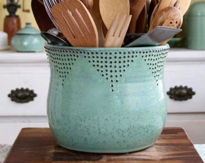 Extra Large Kitchen Utensil Holder 16 Colors Green Blue White Red Hand Thrown Vase Modern Home Decor Made To Order Rustic Pottery Kitchen Utensil Holder Utensil Holder