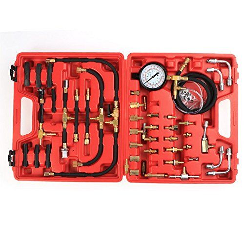 Coocheer Professional Master Fuel Injection Pressure Tester Gauge Kit System 0-100 PSI (Red). For product info go to:  https://www.caraccessoriesonlinemarket.com/coocheer-professional-master-fuel-injection-pressure-tester-gauge-kit-system-0-100-psi-red/