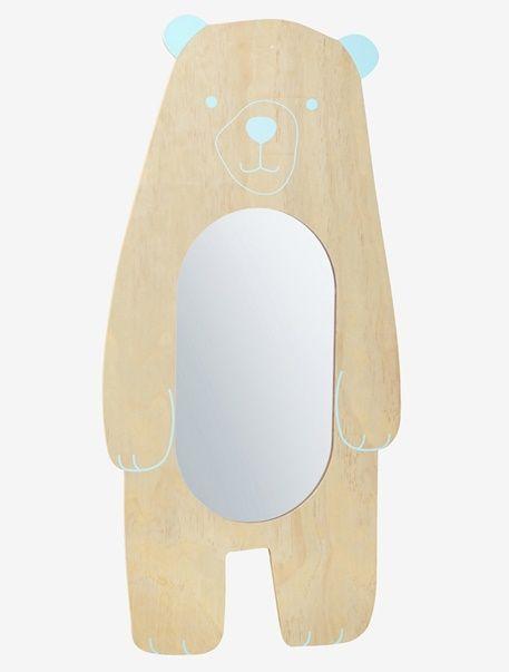 Un adorable espejo en forma de osito es perfecto para crear un universo original y cálido en la habitación de los peques.  DIMENSIONES:Al. 100 cm, largo 47,5 cm.  Oso serigrafiado.   De madera.;