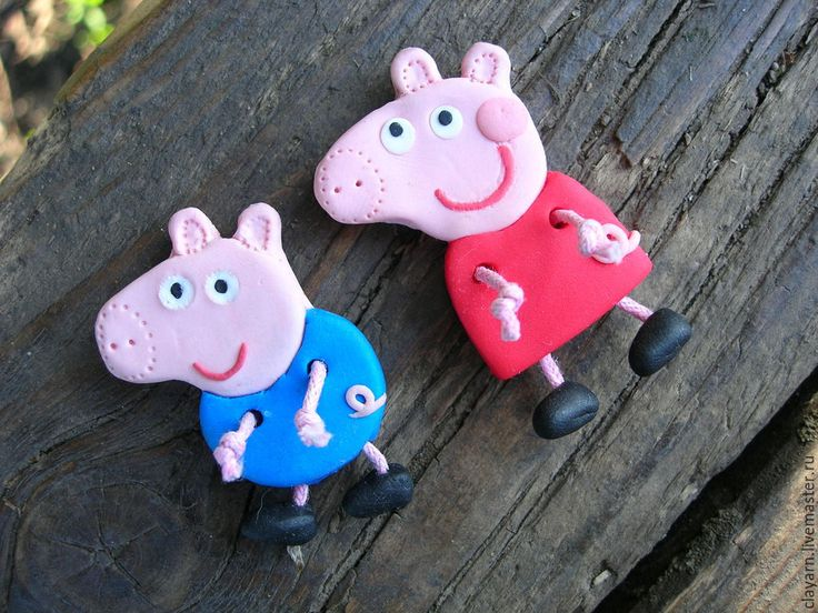 Peppa Pig and George - handmade polymer clay brooches Купить Свинка Пеппа и братик Джордж: украшения, декоративные пуговицы - свинка пеппа купить