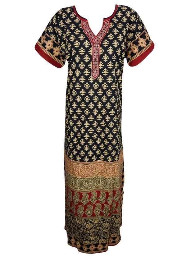 b9369d8430 Womens Summer Cotton Printed Nightwear Kaftan Short Sleeves Sleepwear  Evening Maxi Caftan Dress L