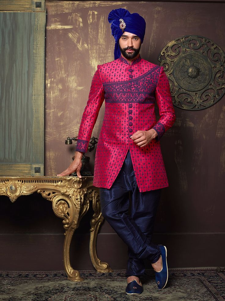 Magenta Raw Silk Embroidered Indo Western Sherwani