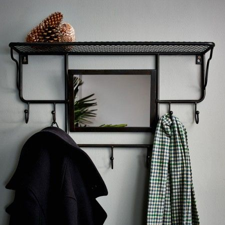 Industrial Rack With Mirror   Hooks   Graham & Green