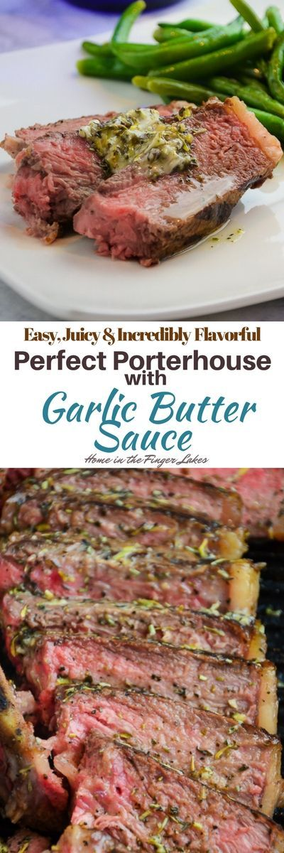 These tender and juicy Porterhouse steak are perfectly seared in a cast iron skillet and finished in the oven. via @homeinFLX