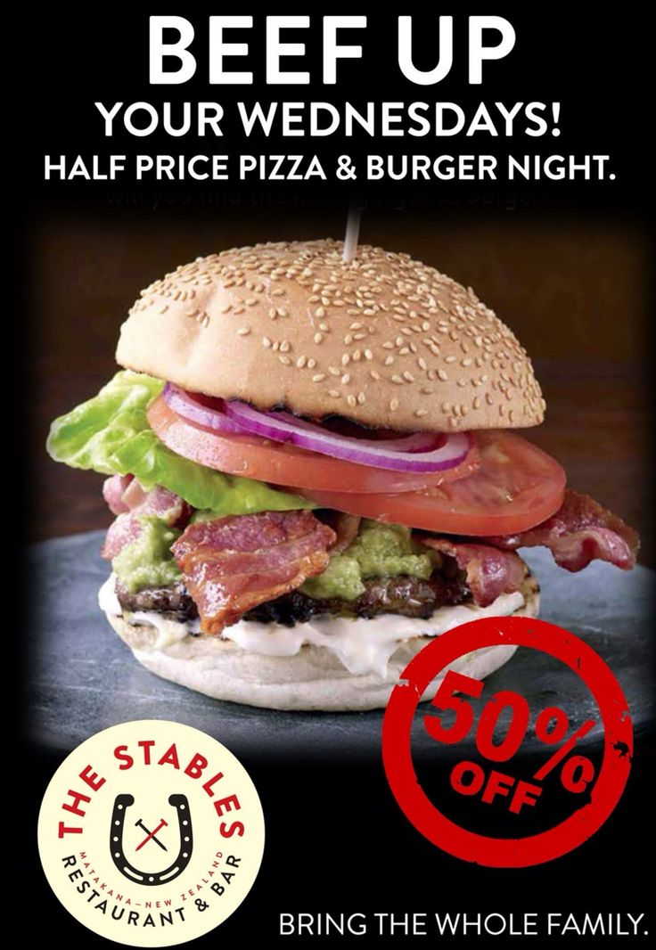 1/2 price pizza and burgers every Wednesday!