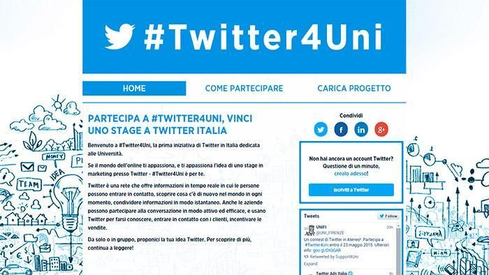 Twitter, la piattaforma globale che permette alle persone di scoprire, creare e condividere informazioni e idee in tempo reale, senza barriere, lancia #Twitter4Uni , la prima iniziativa dedicata alle Università italiane.