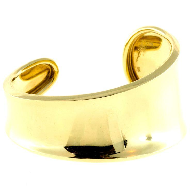 Vintage Rolled Edge Slip On Solid 18k Cuff Bangle Designer Robert Lee Morris - petersuchyjewelers