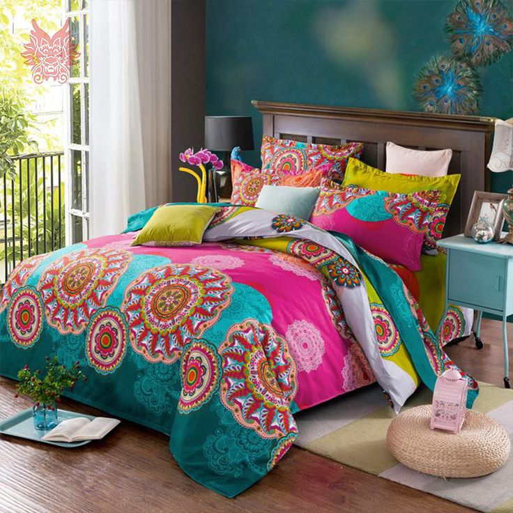 Barato 100% Algodão conjuntos de Cama escovado drap de iluminado tipo 4 pçs/set SP2951 Boho estilo floral imprimir cama consolador conjunto de tampa King size, Compro Qualidade Conjuntos de cama diretamente de fornecedores da China: Duvet cover Bed sheet Pillow case4pcs/set SP2318 100%cotton Multi color print blushed bedding sets comforter cover set F