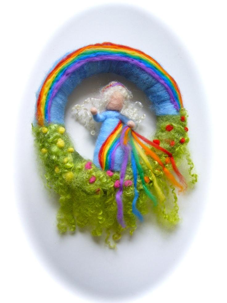 Rainbow Wreath.Rainbow Fairy . Needle Felted. Waldorf.Wool.. $42.50, via Etsy.