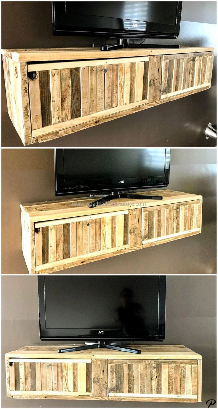 Style out wood pallets in to something worthy. Wood pallet TV stand is simple and gives your aesthetic sense pleasure. It also solves storage problems. Use of different flavored pallets in stand is giving attractive look. It looks to be a fine and delicate work of craft.