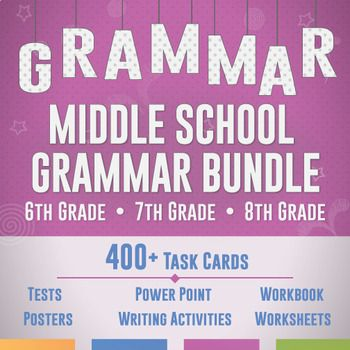 Meet every sixth, seventh, and eighth grade language standard with the Ultimate Middle School Grammar Bundle. This grammar unit contains scaffolded grammar lessons in a variety of ways.
