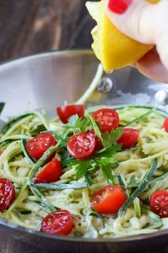 Zucchini Pasta in a Lemon Cream Sauce #zoodles #zucchini #veggies