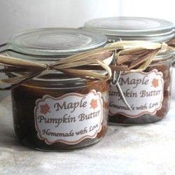Homemade Maple Pumpkin Butter   pumpkin puree, maple syrup, brown sugar, apple cider, pumpkin pie spice.