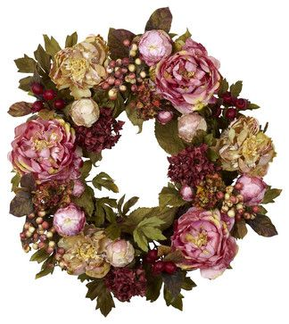 24in. Peony Hydrangea Wreath - contemporary - Wreaths And Garlands - Modern Furniture Warehouse