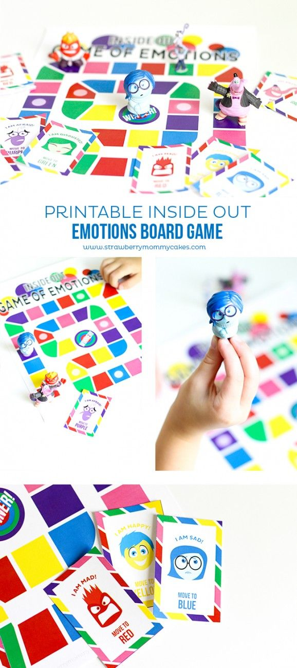 Printable Inside Out Emotions Board Game // Juego imprimible sobre las emociones, basado en Del Revés