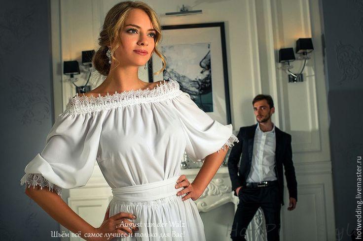 """Купить """"Вечер в белом"""" Платье макси - свадебное платье, платье невесты, белое платье"""