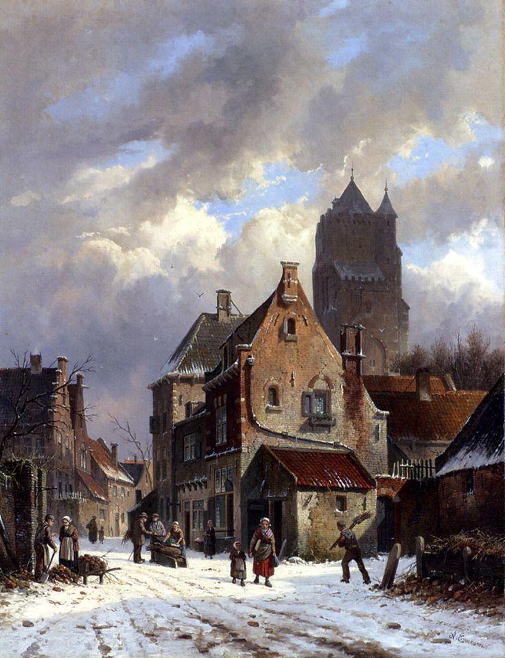 Figures In A Snowy Village Street, Adrianus Eversen. Dutch (1818-1897)