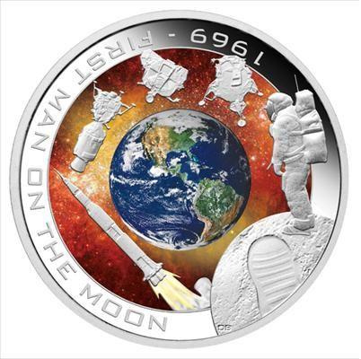 Памятная цветная монета ПЕРВЫЙ ЧЕЛОВЕК НА ЛУНЕ Космос 31.14 Серебро 1 Доллар Острова Кука 2009 год