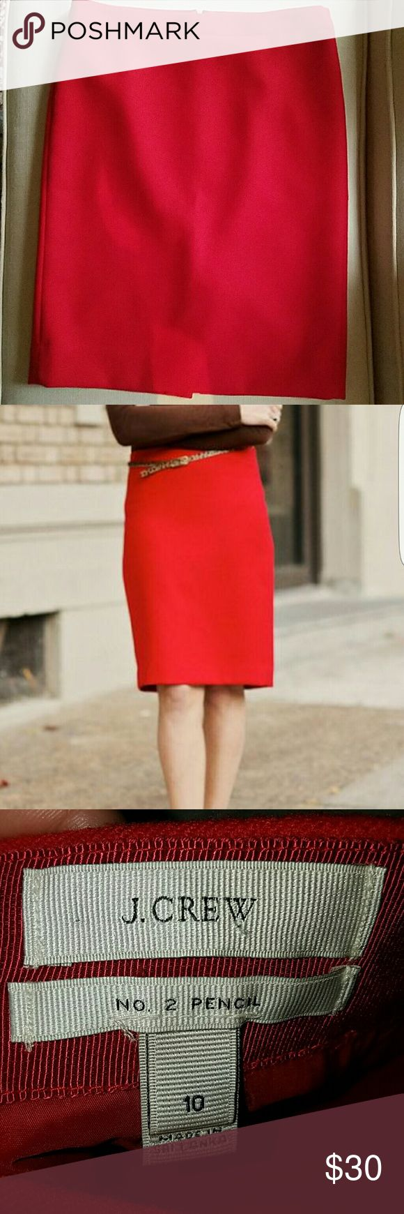 J. Crew number 2 red pencil skirt J. Crew Red Wool #2 pencil skirt Mint condition Size 10 J. Crew Skirts Pencil