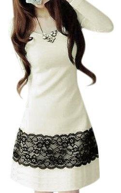 Allegra K Lady Lace Floral Print Round Neck Autumn Dress White Black M $12.21