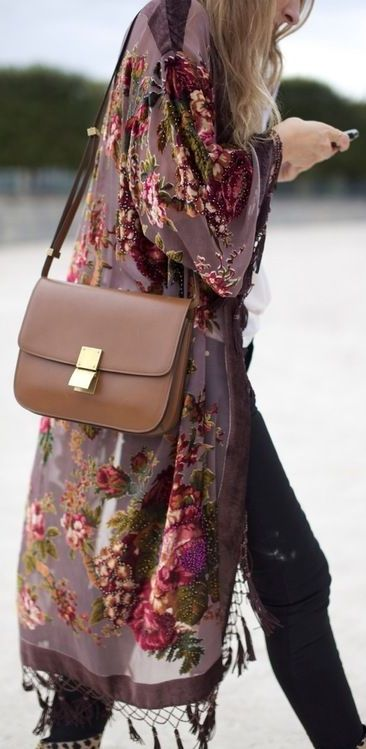 Floral Burn out #fashion #velvet Street Style